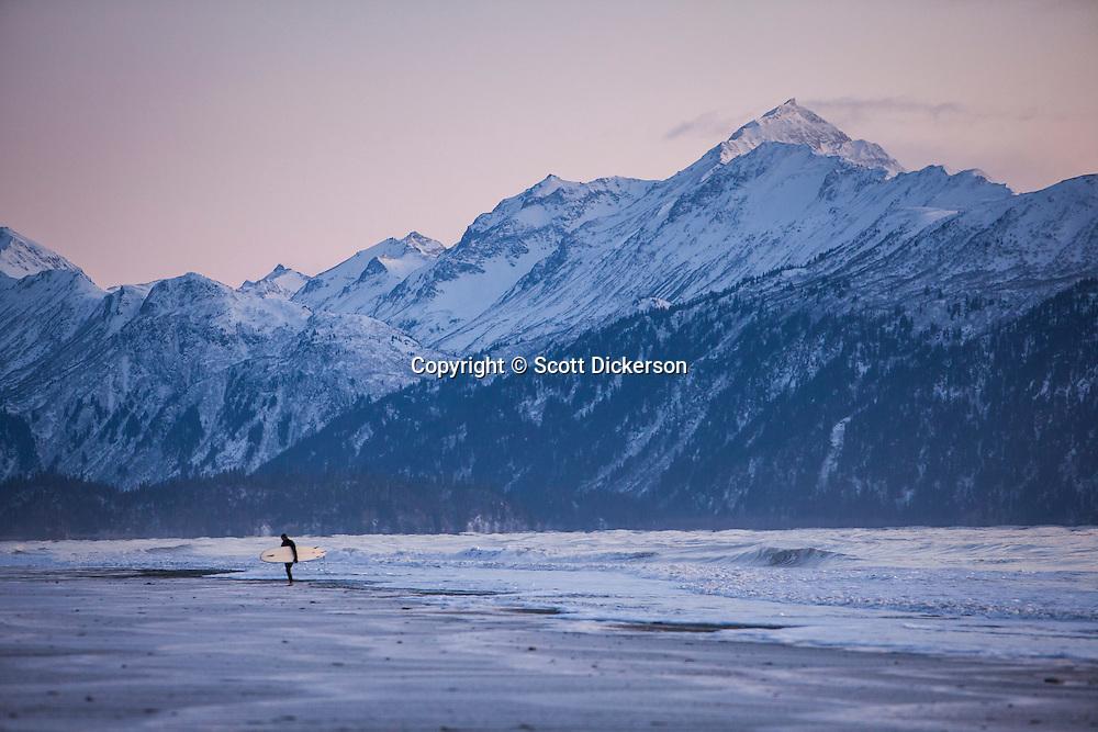Don 'IceMan' McNamara surfing Homer, Alaska.
