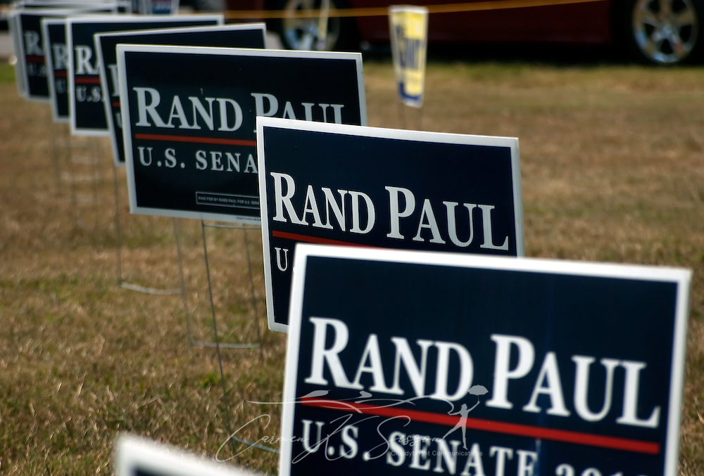 Campaign signs supporting Republican Senate candidate Rand Paul dot the lawn Aug. 7, 2010 at the 130th annual Fancy Farm picnic and political rally in Fancy Farm, Ky. Paul, along with his opponent, Democrat Jack Conway, spoke at the picnic. (Photo by Carmen K. Sisson/Cloudybright)
