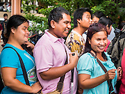 21 JULY 2015 - BANGKOK, THAILAND: About 50 blind people held a protest at the National Counter Corruption Commission offices Phitsanulok Road in Bangkok, across the street from Government House, Tuesday. Many blind and vision impaired people in Thailand sell lottery tickets and members of the blind community have been upset about changed in lottery ticket policies.     PHOTO BY JACK KURTZ