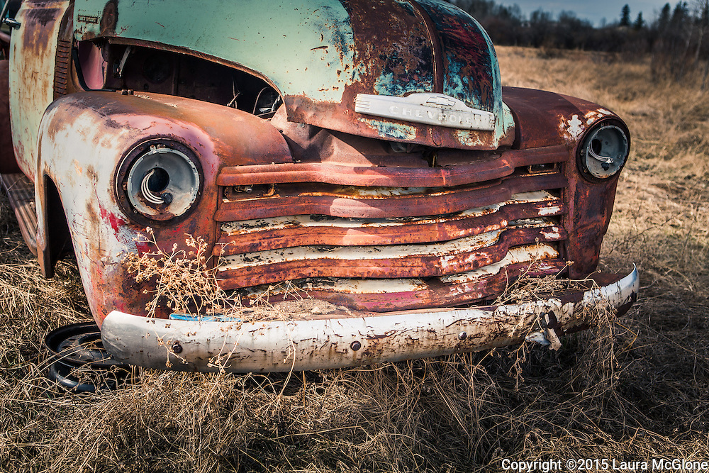 Vintage Classic Rusted Red Chevy Truck on Prairie, Alberta Canada