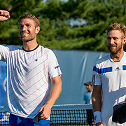 August 24, 2016, New Haven, Connecticut: <br /> Nicolas Meister and Eric Quigley react after winning the US Open National Playoffs men's doubles finals on Day 6 of the 2016 Connecticut Open at the Yale University Tennis Center on Wednesday, August  24, 2016 in New Haven, Connecticut. <br /> (Photo by Billie Weiss/Connecticut Open)