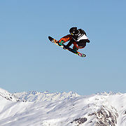 Morten Klievdal, Norway, in action during the Men's Snowboard Slopestyle competition at Snow Park, New Zealand during the Winter Games. Wanaka, New Zealand, 21th August 2011. Photo Tim Clayton