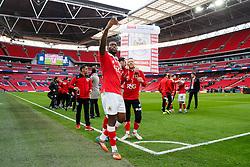 Jay Emmanuel-Thomas celebrates with a selfie after Bristol City win the match 2-0 - Photo mandatory by-line: Rogan Thomson/JMP - 07966 386802 - 22/03/2015 - SPORT - FOOTBALL - London, England - Wembley Stadium - Bristol City v Walsall - Johnstone's Paint Trophy Final.