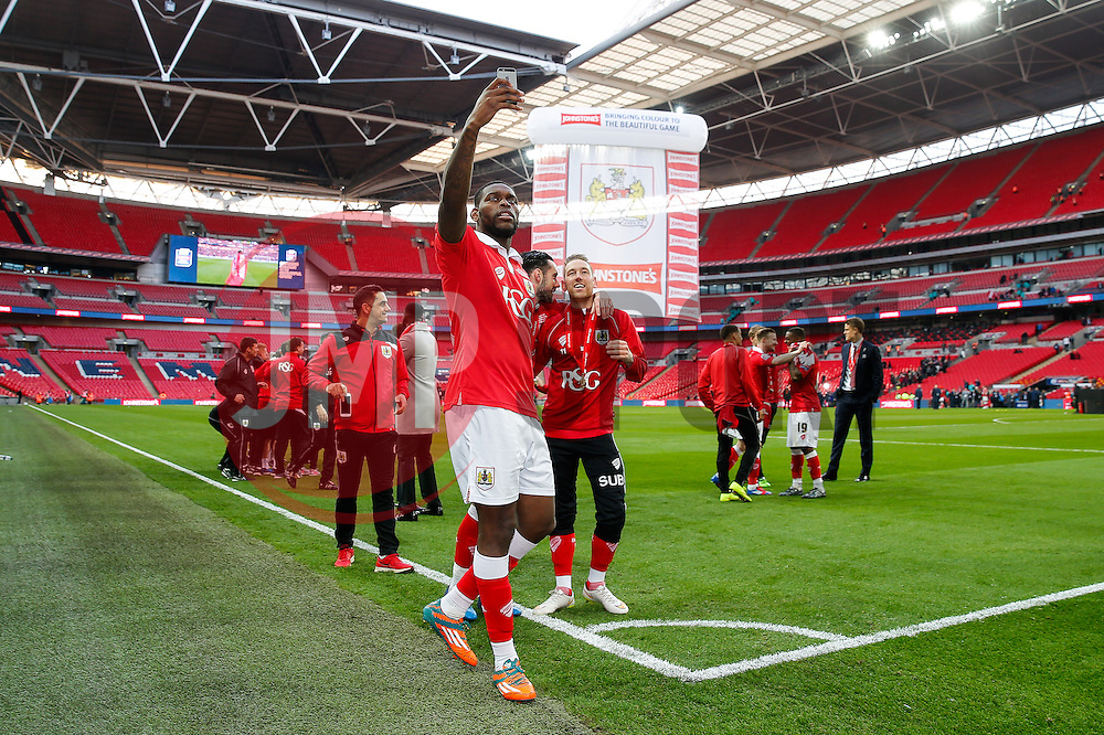 Jay Emmanuel-Thomas celebrates with a selfie after Bristol City win the match 2-0 - Photo mandatory by-line: Rogan Thomson/JMP - 07966 386802 - 22/03/2015 - SPORT - FOOTBALL - London, England - Wembley Stadium - Bristol City v Walsall - Johnstone's Paint Trophy Final.