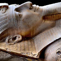 Reclining Limestone Statue of Colossus of Ramesses II in Memphis, Egypt<br />