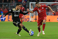02.10.2018, CL, Champions League, FC Bayern Muenchen vs Ajax Amsterdam, Allianz Arena  Muenchen, im Bild:...Noussair Mazraoui ( Ajax Amsterdam) vs Franck Ribery (FCB)..DFL REGULATIONS PROHIBIT ANY USE OF PHOTOGRAPHS AS IMAGE SEQUENCES AND / OR QUASI VIDEO...Copyright: Philippe Ruiz..Tel: 089 745 82 22.Handy: 0177 29 39 408.e-Mail: philippe_ruiz@gmx.de. (Credit Image: © Philippe Ruiz/Xinhua via ZUMA Wire)