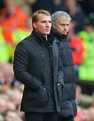 LIVERPOOL, ENGLAND - Saturday, November 8, 2014: Liverpool's manager Brendan Rodgers and Chelsea's manager Jose Mourinho during the Premier League match at Anfield. (Pic by David Rawcliffe/Propaganda)