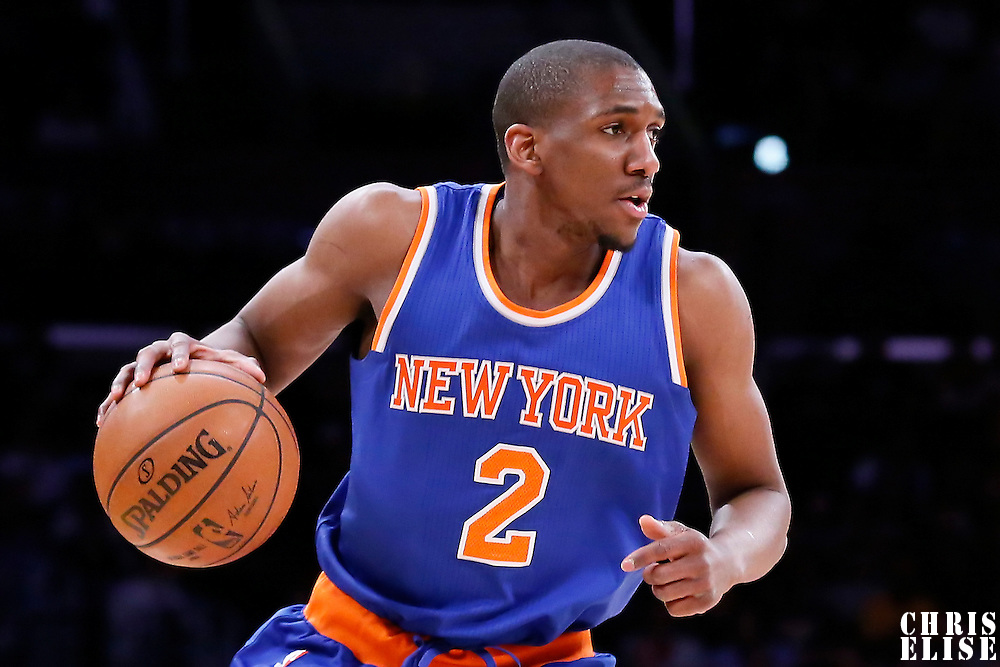 12 March 2015: New York Knicks guard Langston Galloway (2) brings the ball up court during the New York Knicks 101-94 victory over the Los Angeles Lakers, at the Staples Center, Los Angeles, California, USA.