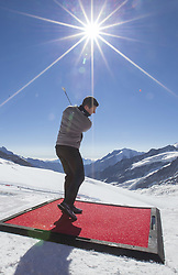 JUNGFRAUJOCH (Switzerland), Oct. 4, 2018  Golf star Rory McIlroy from Northern Ireland plays the ball during a golf event on the Aletsch glacier, 3, 454 meters above sea level on the Jungfraujoch, Switzerland, October 4, 2018. (Credit Image: © Xu Jinquan/Xinhua via ZUMA Wire)