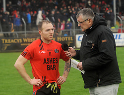 Glenbeigh-Glencar's Darren O'Sullivan being interviewed after the match.<br />