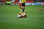Port Vale's Ryan McGivern lays injured during the Sky Bet League 1 match between Sheffield Utd and Port Vale at Bramall Lane, Sheffield, England on 20 February 2016. Photo by Ian Lyall.