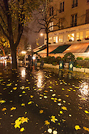 France. Paris , 4th district. le marais , under the rain at night  / Paris sous la pluie, le marais  la nuit