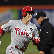 Chase Utley, Philadelphia Phillies, rounds the bases after hitting a home run off Pitcher Matt Harvey, New York Mets, during the New York Mets Vs Philadelphia Phillies MLB regular season baseball game at Citi Field, Queens, New York. USA. 14th April 2015. Photo Tim Clayton