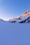 Evening light on Piute Pass in winter, Inyo National Forest, Sierra Nevada Mountains, California