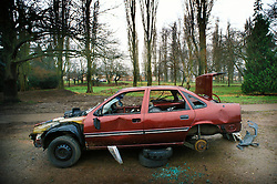 Abandoned and vandalised car, Braunstone, Leicester, Leicestershire, England, UK, Europe.