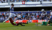 Matt Phillips' shot is saved well by Simon Moore during the Sky Bet Championship match between Queens Park Rangers and Cardiff City at the Loftus Road Stadium, London, England on 15 August 2015. Photo by Andy Walter.