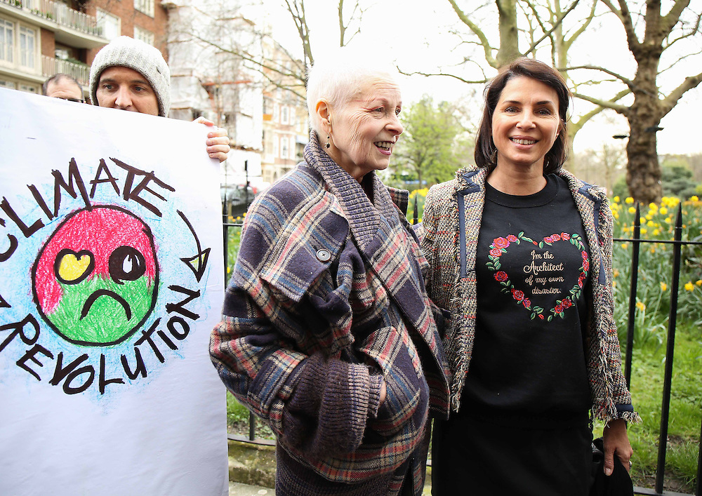 Dame Vivienne Westwood & Sadie Frost join attend anti fracking demonstration in London on March 18, 2014.