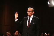 National Security Advisor Anthony Lake is sworn in before testifying at the Senate Intelligence Committee hearing on his nomination as Director of the CIA March 11, 1997.