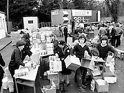 After a state of emergency was declared in Poland in December 1981, aid was channelled through non-governmental organisations, mainly in the form of foodstuffs and medical supplies for the poorest sections of the population. Here, Red Cross food packages are prepared for transportation.<br /> 27 February 1982