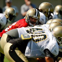 July 31, 2010; Metairie, LA, USA; New Orleans Saints quarterback Patrick Ramsey (11) under center during a training camp practice at the New Orleans Saints practice facility. Mandatory Credit: Derick E. Hingle