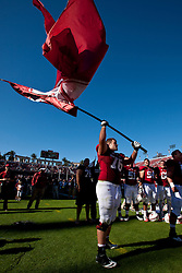 PALO ALTO, CA - OCTOBER 06: Guard Kevin Danser #76 of the Stanford Cardinal celebrates after the game against the Arizona Wildcats at Stanford Stadium on October 6, 2012 in Palo Alto, California. The Stanford Cardinal defeated the Arizona Wildcats 54-48 in overtime. (Photo by Jason O. Watson/Getty Images) *** Local Caption *** Kevin Danser
