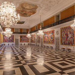 The Great Hall is the largest and most spectacular of the Royal Reception Rooms. The Hall is 40 metres long with a ceiling height of 10 metres, and a gallery runs all the way around the room. The Great Hall was renovated on the occasion of Queen Margrethe II's 60th birthday when artist Bjørn Nørgaard's 17 tapestries recounting the history of Denmark were hung on the walls. The tapestries were a gift from the Danish business community on the occasion of Queen Margrethe II's 50th birthday.