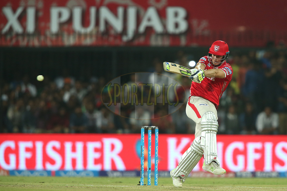 David Miller of Kings XI Punjab pulls a delivery to the boundary during match 4 of the Vivo 2017 Indian Premier League between the Kings XI Punjab and the Rising Pune Supergiant held at the Holkar Cricket Stadium in Indore, India on the 8th April 2017<br /> <br /> Photo by Shaun Roy - IPL - Sportzpics