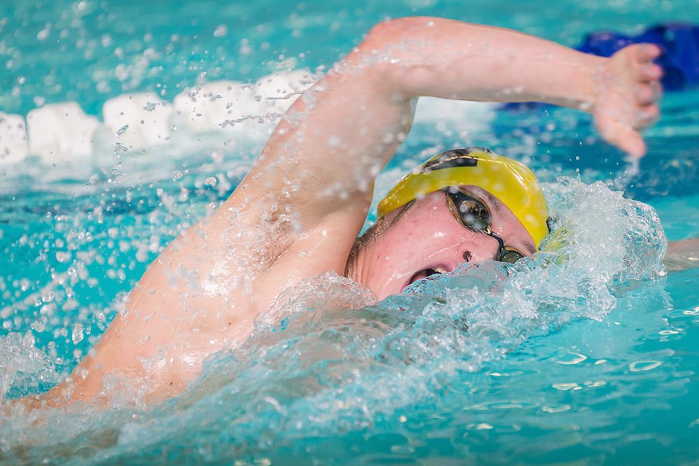 during the Burlington County Scholastic League swimming championships at Burlington County Community College in Pemberton, N.J., Friday, January 30, 2015.  Photo by Bryan Woolston / @woolstonphoto.