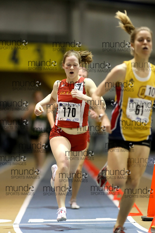 Windsor, Ontario ---14/03/09--- Jess Vanhie of  the University of Guelph competes in the Women's 1500m Final at the CIS track and field championships in Windsor, Ontario, March 14, 2009..Sean Burges Mundo Sport Images