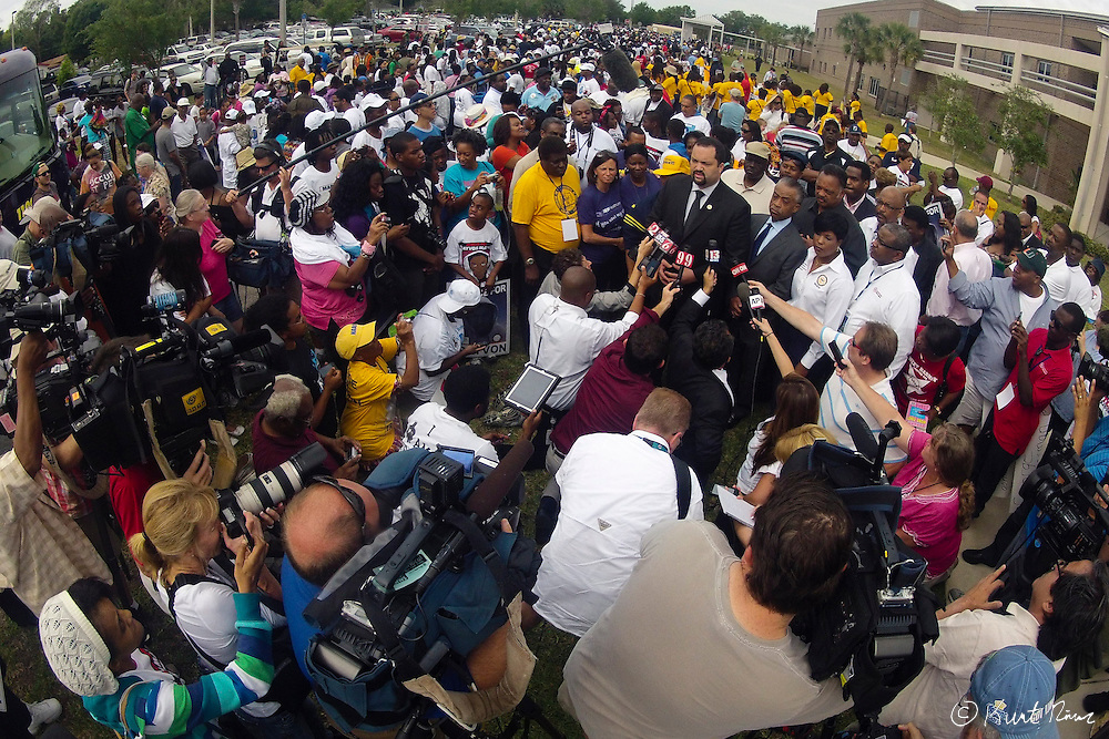 March 31, 2012 - Sanford, Florida, U.S. - NAACP President BENJAMIN JEALOUS speaks to the media before the rally in the streets of Sanford, Florida for the justice of Treyvon Martin.