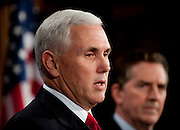 "Dec 2, 2010 - Washington, District of Columbia, Senator. JIM DEMINT, (R-SC) and House Republican Conference Chairman MIKE PENCE, (R-IN) hold a news conference to discuss the ""Tax Relief Certainty Act,"" a bill that would ""permanently extend the current individual tax rates and prevent tax increases on every American."" (Credit Image: © Pete Marovich/ZUMA Press)"