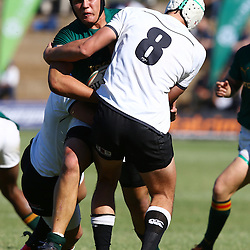 DURBAN, SOUTH AFRICA - JUNE 06: Len Massyn of of (Monnas) tackling Marco Palvie of Glenwood during the 2015 Mutual & Federal Premier Interschools match between Glenwood High School and Monnas at Glenwood High School on June 06, 2015 in Durban, South Africa. (Photo by Steve Haag/Gallo Images)