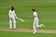 Wicket - Josh Tongue of Worcestershire celebrates taking the wicket of Hashim Amla of Hampshire during the Specsavers County Champ Div 1 match between Hampshire County Cricket Club and Worcestershire County Cricket Club at the Ageas Bowl, Southampton, United Kingdom on 13 April 2018. Picture by Graham Hunt.
