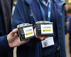 Scotrail unveils new &pound;300,000 GBP personal cctv cameras for their front-line staff to wear. This is in response to increased assaults on staff members across the network, and will see over 350 camera equipped staff across Scotland.<br /> <br /> (c) Dave Johnston / Eem