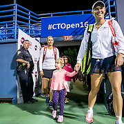 August 22, 2016, New Haven, Connecticut: <br /> Caroline Wozniacki of Denmark and Klaudia Jans-Ignacik of Poland are introduced before a match a match on Day 4 of the 2016 Connecticut Open at the Yale University Tennis Center on Monday August  22, 2016 in New Haven, Connecticut. <br /> (Photo by Billie Weiss/Connecticut Open)