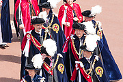 "Koning Willem Alexander wordt door Hare Majesteit Koningin Elizabeth II geïnstalleerd in de 'Most Noble Order of the Garter'. Tijdens een jaarlijkse ceremonie in St. Georgekapel, Windsor Castle, wordt hij geïnstalleerd als 'Supernumerary Knight of the Garter'.<br /> <br /> King Willem Alexander is installed by Her Majesty Queen Elizabeth II in the ""Most Noble Order of the Garter"". During an annual ceremony in St. George's Chapel, Windsor Castle, he is installed as ""Supernumerary Knight of the Garter"".<br /> <br /> Op de foto / On the photo:  Koning Willem Alexander en Koning Felipe VI van Spanje / King Willem Alexander and King Felipe VI of Spain"