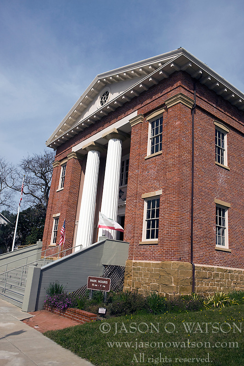 Exterior of Old California State Capitol building at Benicia, California.  Erected in 1852, this historic building was ostensibly intended for Benicia City Hall, offered as the state capitol and promptly accepted, it had that honor from February 4, 1853 to February 25, 1854