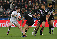John Bateman (L) of England  on the attack against Jared Waerea-Hargreaves of New Zealand during the Autumn International Series match at the KCOM Stadium, Hull<br /> Picture by Stephen Gaunt/Focus Images Ltd +447904 833202<br /> 27/10/2018