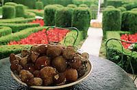 June 1992, Piedmont, Italy --- Porcini Mushroom on Dish, Garden Beyond --- Image by © Owen Franken/CORBIS