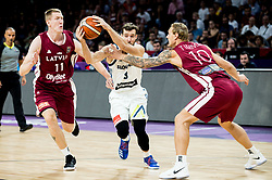 Goran Dragic of Slovenia between Rolands Smits of Latvia and Janis Timma of Latvia during basketball match between National Teams of Slovenia and Latvia at Day 13 in Round of 16 of the FIBA EuroBasket 2017 at Sinan Erdem Dome in Istanbul, Turkey on September 12, 2017. Photo by Vid Ponikvar / Sportida