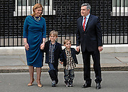 Gordon and Sarah Brown pictured with  their children Jonathan and Fraser in Downing Street..Gordon Brown announces his resignation on Downing Street as Britain's Prime Minister before visiting Queen Elizabeth II to inform her of his decision.