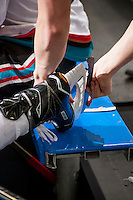 KELOWNA, CANADA - FEBRUARY 18: Skate blade change on February 18, 2017 at Prospera Place in Kelowna, British Columbia, Canada.  (Photo by Marissa Baecker/Shoot the Breeze)  *** Local Caption ***