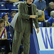 Delaware Women's Head coach Tina Martin yells instruction to her team during a Quarterfinals Women's National Invitation Tournament Preseason game against Georgetown Sunday, Nov. 11, 2012 at the Bob Carpenter Center in Newark Delaware.
