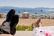 Relaxing at the Hayatt beach along Lake Tahoe in Incline Village