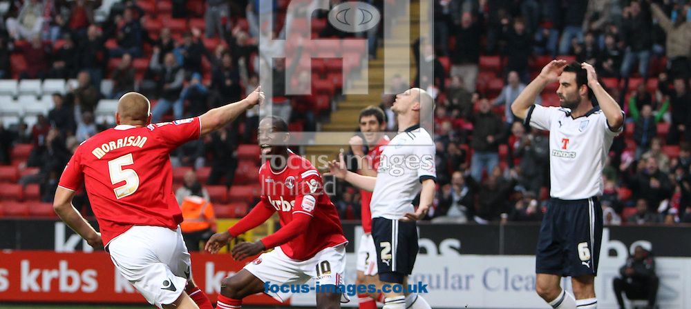 Picture by John Rainford/Focus Images Ltd. 07506 538356.5/11/11.Michael Morrison and Bradley Wright-Phillips of Charlton turn to celebrate a goal against Preston during the Npower Championship match at The Valley stadium, London.