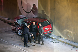 May 9, 2017 - Buenos Aires, Buenos Aires, Argentina - One dead and two injured when two cars frontally collided inside a tunnel in the neighborhood of Villa Urquiza, Buenos Aires. One of the cars was burned and its driver died. It happened in the tunnel of Constituyentes and Roosevelt Avenue. (Credit Image: © Claudio Santisteban via ZUMA Wire)