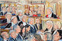 ©PRISCILLA COLEMAN ITV NEWS..ARTWORK SHOWS : GEORGE GALLOWAY(CENTRE) AT THE HIGH COURT WHERE HE WON HIS LIBEL ACTION AGAINST THE DAILY TELEGRAPH. MR JUSTICE EADY(RIGHT) AWARDED GALLOWAY PNDS STLG 150,000 IN DAMAGES.