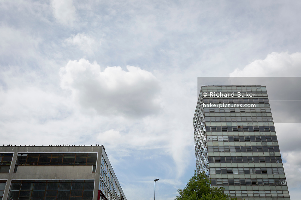 The grim architecture of the London College of Communications (LCC) at Elephant And Castle, on 3rd May 2018, in south London, UK.