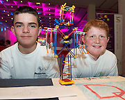 Dylan Duane and Dillon Hopkins from Lawerencestown NS at the Medtronic Community Event , comprising of projects about Healthy Living and the heart, KNEX finals and Lean Sigma catapult competitionorganised by the Galway Education Centre at the Radisson Blu Hotel Galway. Photo:Andrew Downes.
