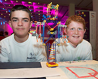 Dylan Duane and Dillon Hopkins from Lawerencestown NS at the Medtronic Community Event , comprising of projects about Healthy Living and the heart, KNEX finals and Lean Sigma catapult competition organised by the Galway Education Centre at the Radisson Blu Hotel Galway. Photo:Andrew Downes.